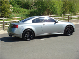 Gray Coupe Car with Black Mags
